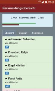 aPager App Rückmeldeübersicht: Übersicht